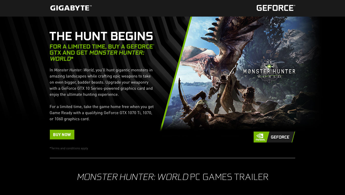 gigabyte geforce monster hunter world game ready bundle