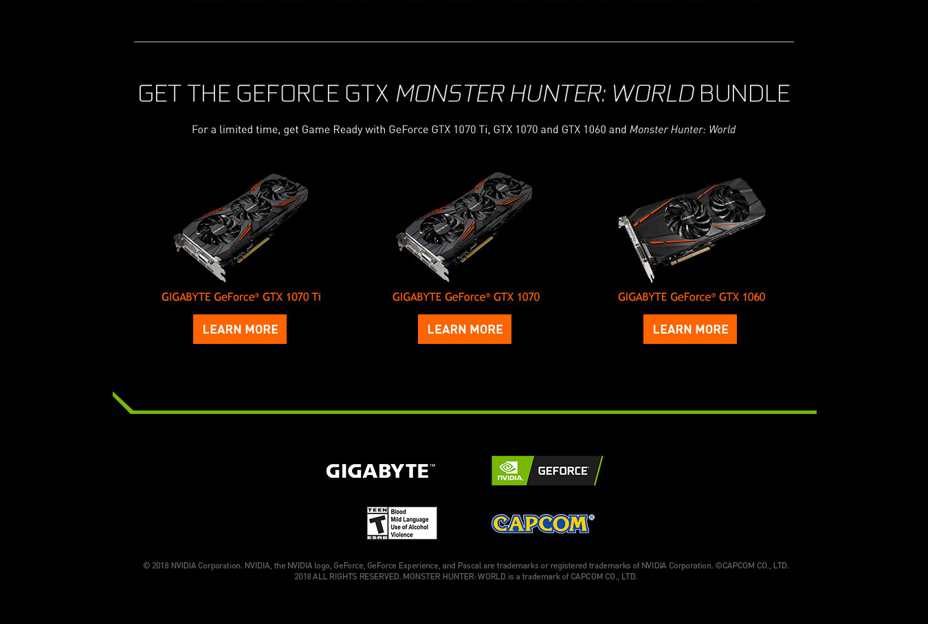 monster hunter world geforce gigabyte game ready bundle